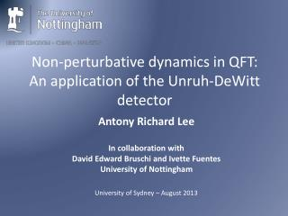 Non-perturbative  dynamics in QFT: An application of the Unruh-DeWitt detector