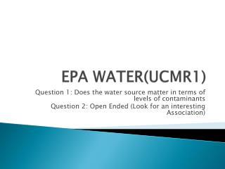 EPA WATER(UCMR1)