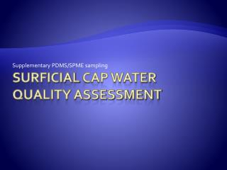 Surficial  cap water quality assessment