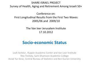 Socio-economic Status Leah Achdut ,  Ruppin  Academic Center and Van Leer Institute