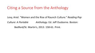 Citing a Source from the Anthology