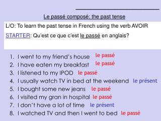 ____________________________ Le passé composé: the past tense