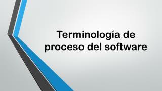 Terminología de proceso del software