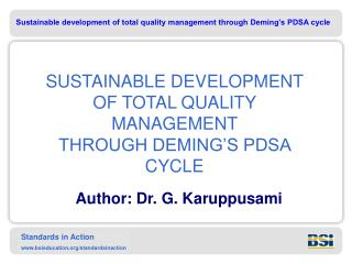 SUSTAINABLE DEVELOPMENT  OF TOTAL QUALITY MANAGEMENT  THROUGH DEMING S PDSA CYCLE