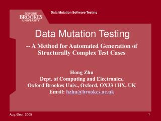Data Mutation Testing