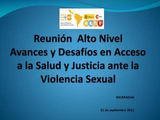 Reunión  Alto Nivel  Avances y Desafíos en Acceso a la Salud y Justicia ante la Violencia Sexual