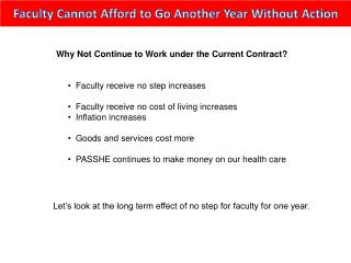 Faculty Cannot Afford to Go Another Year Without Action
