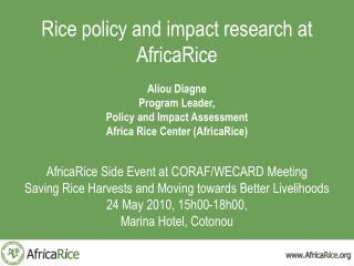 Rice policy and impact research at AfricaRice  Aliou Diagne Program Leader, Policy and Impact Assessment Africa Rice Cen