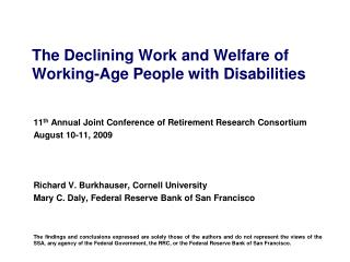 The Declining Work and Welfare of Working-Age People with Disabilities
