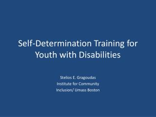 Self-Determination Training for Youth with Disabilities
