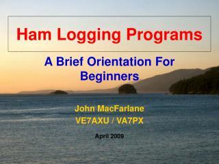 Ham Logging Programs