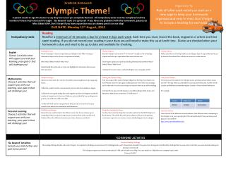Grade 6A  Homework Olympic Theme!