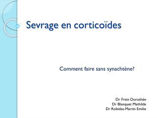 Sevrage en corticoïdes