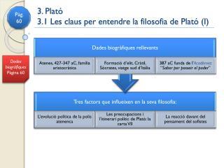 3. Plató 3.1 Les claus per entendre la filosofia de Plató (I)