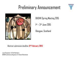 Preliminary Announcement