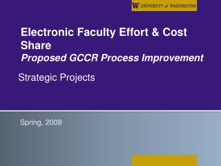 Electronic Faculty Effort & Cost Share Proposed GCCR Process Improvement