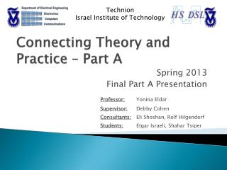 Connecting Theory and Practice – Part A