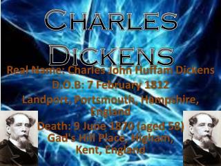 Real Name: Charles John Huffam Dickens D.O.B: 7 February 1812