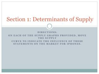 Section 1: Determinants of Supply