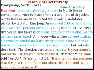 Example of Dictatorship