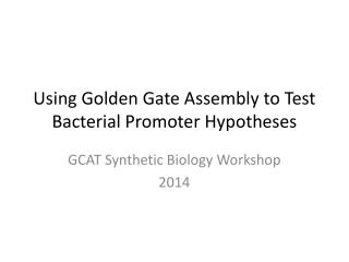Using Golden Gate Assembly to Test Bacterial Promoter Hypotheses