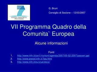 VII Programma Quadro della Comunita Europea