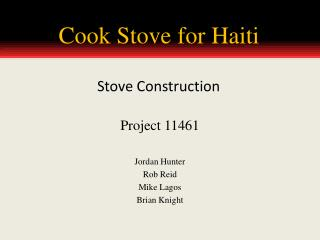 Cook Stove for Haiti