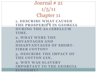 Journal # 21 1/5/11 Chapter 11