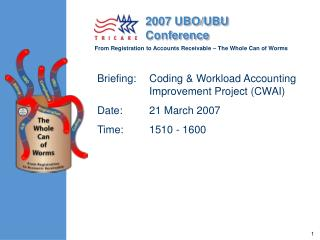 Briefing: Coding  Workload Accounting    Improvement Project CWAI Date: 21 March 2007 Time: 1510 - 1600