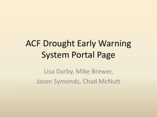 ACF Drought Early Warning System Portal Page