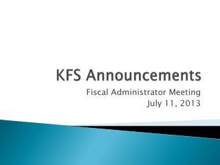 KFS Announcements