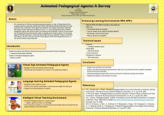 Animated Pedagogical Agents:  A Survey