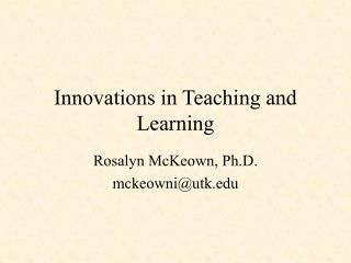 Innovations in Teaching and Learning