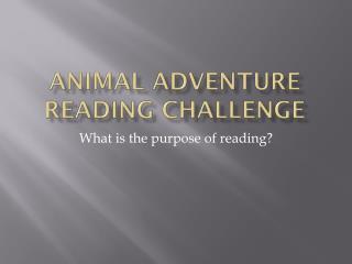 Animal Adventure Reading Challenge