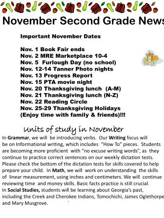 November Second Grade News