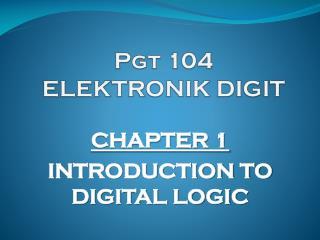 Pgt  104 ELEKTRONIK  DIGIT