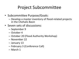 Project Subcommittee