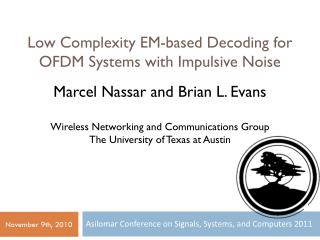 Low Complexity EM-based Decoding for OFDM Systems with Impulsive Noise