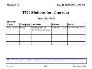 TG1 Motions for Thursday