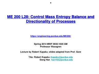 Control Volume Entropy Balance Illustrating an Impossible Process