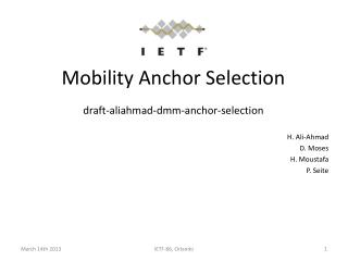 Mobility Anchor Selection