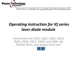 Operating instruction for IQ series laser diode module