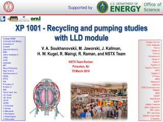 XP 1001  - Recycling and pumping studies with LLD module