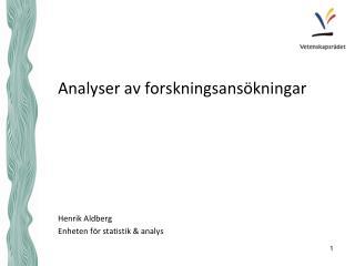 Analyser av forskningsansökningar