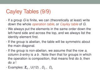 Cayley  Tables (9/9)