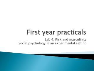 First year  practicals