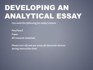 Developing an Analytical Essay