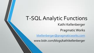 T-SQL Analytic Functions