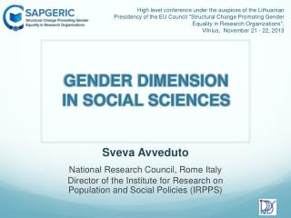 GENDER DIMENSION IN SOCIAL SCIENCES