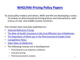 WHO/HAI Pricing Policy Papers